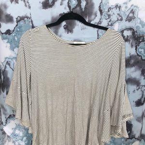 Flowy white striped blouse